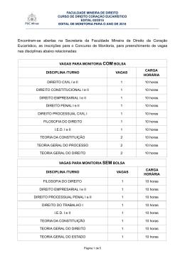 EDITAL MONITORIA - Faculdade Mineira de Direito