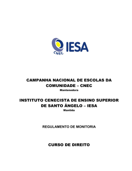 regulamento de monitoria - IESA - Instituto Cenecista de Ensino