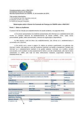 Complementação sobre o RAG 2013 PE