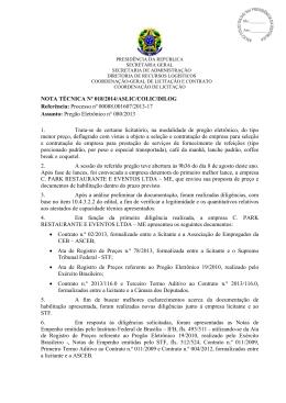 NOTA TÉCNICA Nº 018/2014/ASLIC/COLIC/DILOG Referência