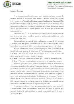 Carta aos Diretores - Secretaria Municipal de Saúde
