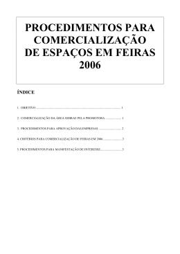 PROCEDIMENTOS PARA COMERCIALIZAÇÃO DE ESPAÇOS EM
