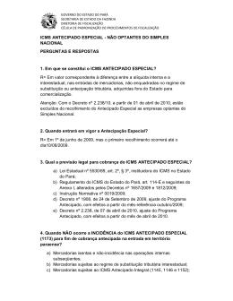 ICMS ANTECIPADO ESPECIAL - NÃO OPTANTES DO