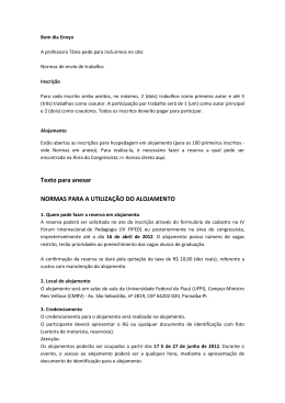 Texto para anexar NORMAS PARA A UTILIZAÇÃO DO ALOJAMENTO