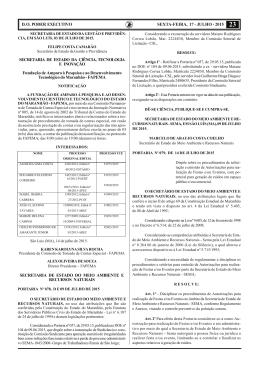 D. O. PODER EXECUTIVO SEXTA-FEIRA, 17 - JULHO - 2015