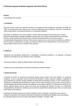 A literatura popular brasileira segundo Jean-Paul Sartre