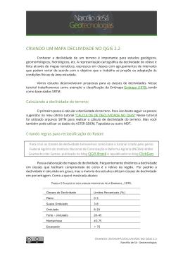 CRIANDO UM MAPA DECLIVIDADE NO QGIS 2.2