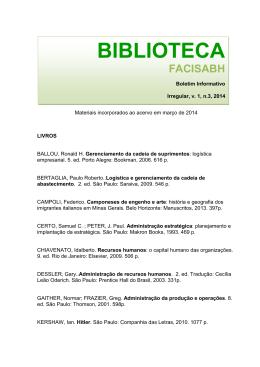 Materiais incorporados ao acervo em março de 2014