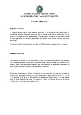 Esclarecimento 2 - Governo do Estado do Rio de Janeiro