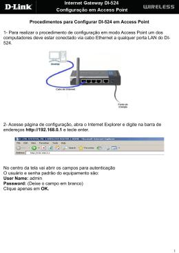 Procedimentos para Configurar DI-524 em Access Point 1 - D-Link