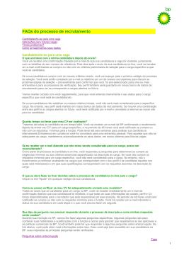 FAQs do processo de recrutamento
