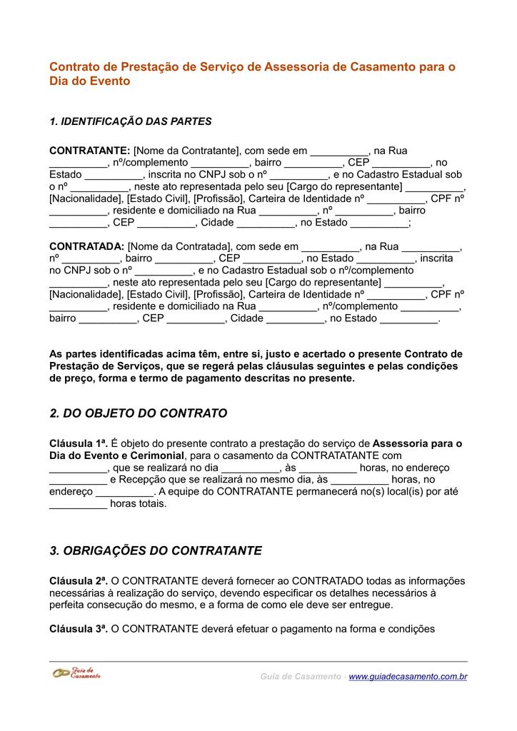 Contrato De Prestação De Serviço De Assessoria De Casamento