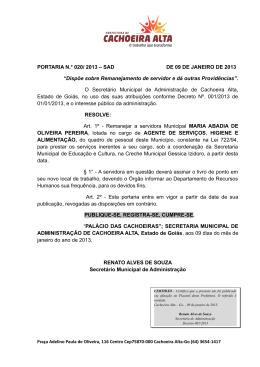 7d2e47d38 PORTARIA N.° 020/ 2013 – SAD DE 09 DE JANEIRO DE 2013