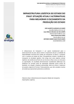 infraestrutura logística do estado do piauí: situação atual e
