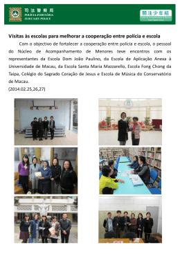 Visitas às escolas para melhorar a cooperação entre polícia e escola