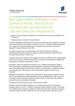 Ericsson firma parceria com Scania e Royal Institute of Technology
