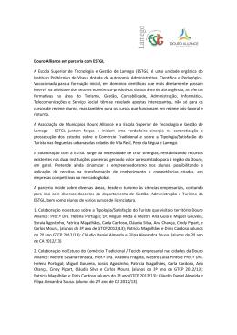 Douro Alliance em parceria com ESTGL A Escola Superior de