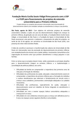 Fundação Maria Cecilia Souto Vidigal firma parceria com a USP e a