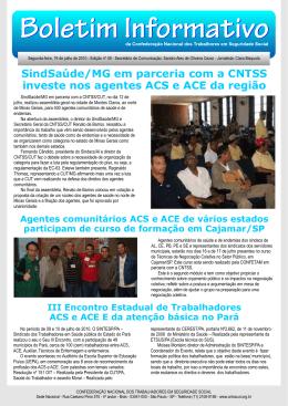 SindSaúde/MG em parceria com a CNTSS investe nos agentes ACS