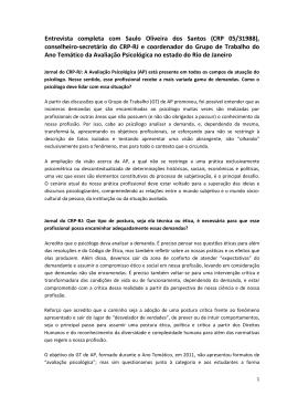 Entrevista completa com Saulo Oliveira dos Santos (CRP - CRP-RJ