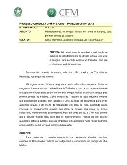 parecer do CFM 26/12 - Conselho Federal de Medicina