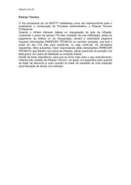 debasil.com.br Parecer Técnico O rito processual da Lei 6437/77
