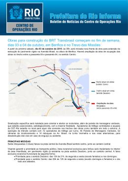 Obras para construção do BRT Transbrasil começam no fim de