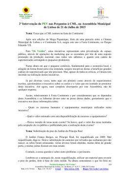 2ª Intervenção do PEV nas Perguntas à CML, na Assembleia