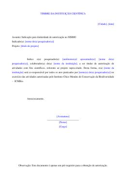 (Modelo de Indica\347\343o para autoriza\347\343o para fins cient