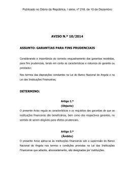 AVISO Nº 10 _ GARANTIAS PARA FINS PRUDENCIAIS