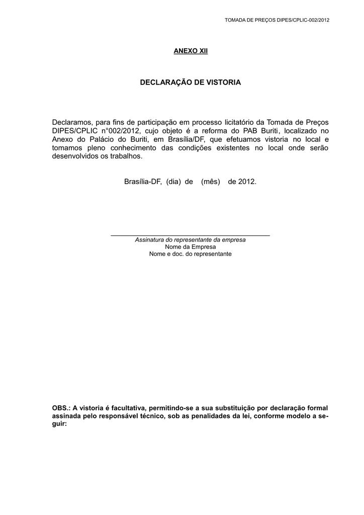 Declaração De Vistoria Declaramos Para Fins De