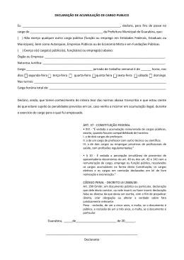 DECLARAÇÃO DE ACUMULAÇÃO DE CARGO PUBLICO Eu