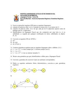 Exercícios expressões e gramáticas regulares com respostas