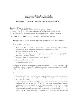 Solução da 1a Prova - Universidade Federal de Uberlândia
