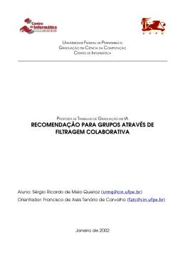 recomendação para grupos através de filtragem colaborativa
