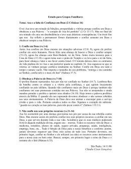 Estudo para Grupos Familiares Tema: Asa e a falta de Confiança