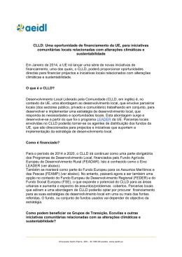CLLD: Uma oportunidade de financiamento da UE, para