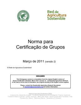 Norma para Certificação de Grupos