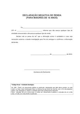 DECLARAÇÃO NEGATIVA DE RENDA (PARA MAIORES DE 18
