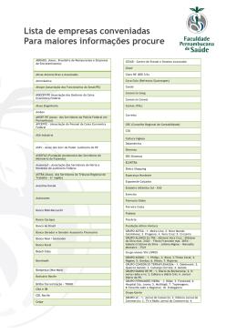Lista de empresas conveniadas Para maiores informações