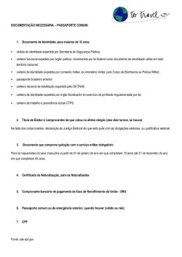DOCUMENTAÇÃO NECESSÁRIA – PASSAPORTE