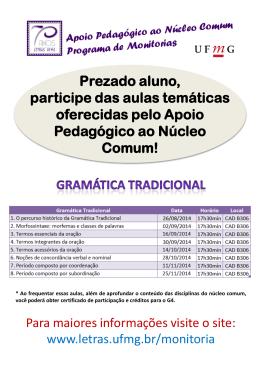 Cartaz das aulas temáticas por disciplina 2º semestre de 2014