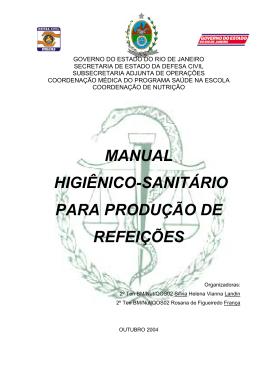 MANUAL HIGIÊNICO-SANITÁRIO PARA PRODUÇÃO DE