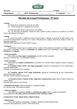 Revisão de Língua Portuguesa – 8ª série