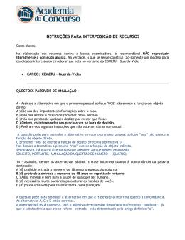 Instruções para interposição de recursos: