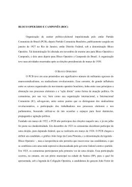 BLOCO OPERÁRIO E CAMPONÊS (BOC) Organização