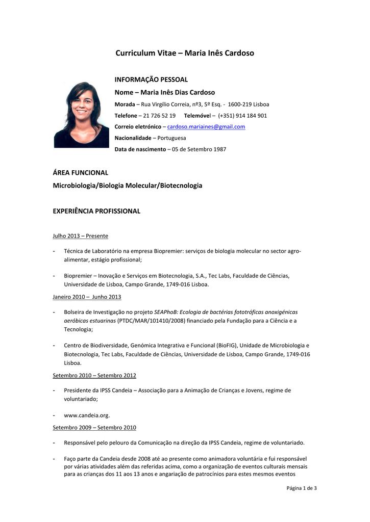 Curriculum Vitae Maria Ines Cardoso