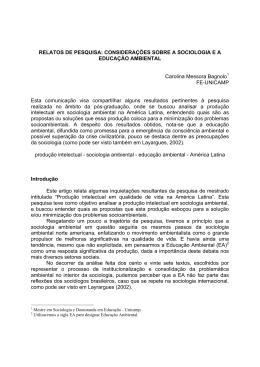 RELATOS DE PESQUISA: CONSIDERAÇÕES SOBRE A