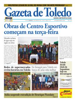 Obras de Centro Esportivo começam na terça-feira
