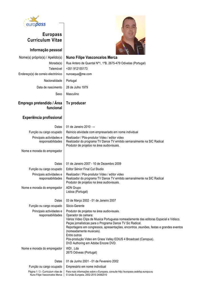 curriculum vitae realizador audiovisual